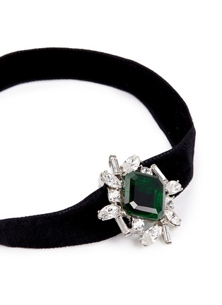 Detail View - Click To Enlarge - Kenneth Jay Lane - Glass crystal velvet choker
