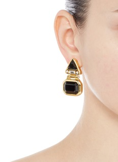Kenneth Jay LaneGlass stone gold plated hinged drop earrings