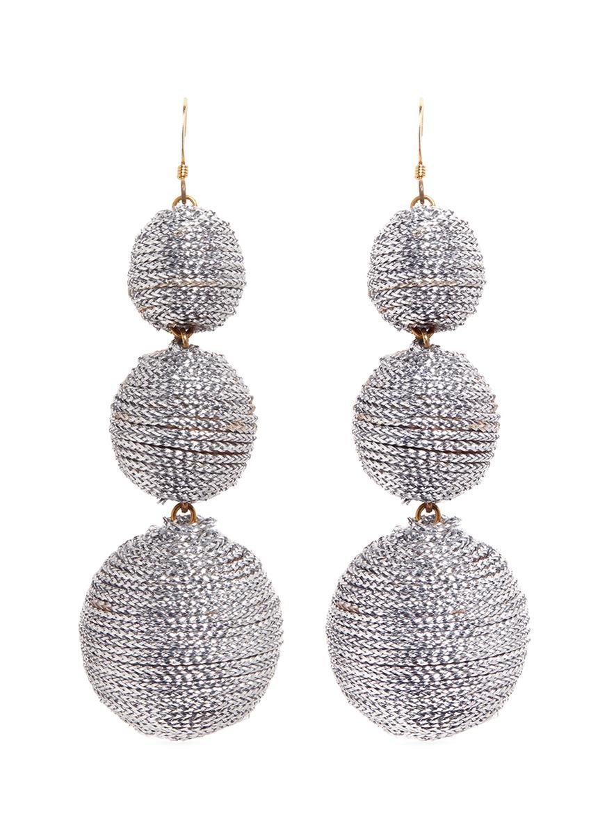 kenneth jay lane female graduating threaded sphere drop earrings