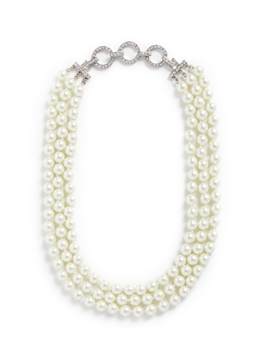 kenneth jay lane female crystal pave chain glass pearl necklace