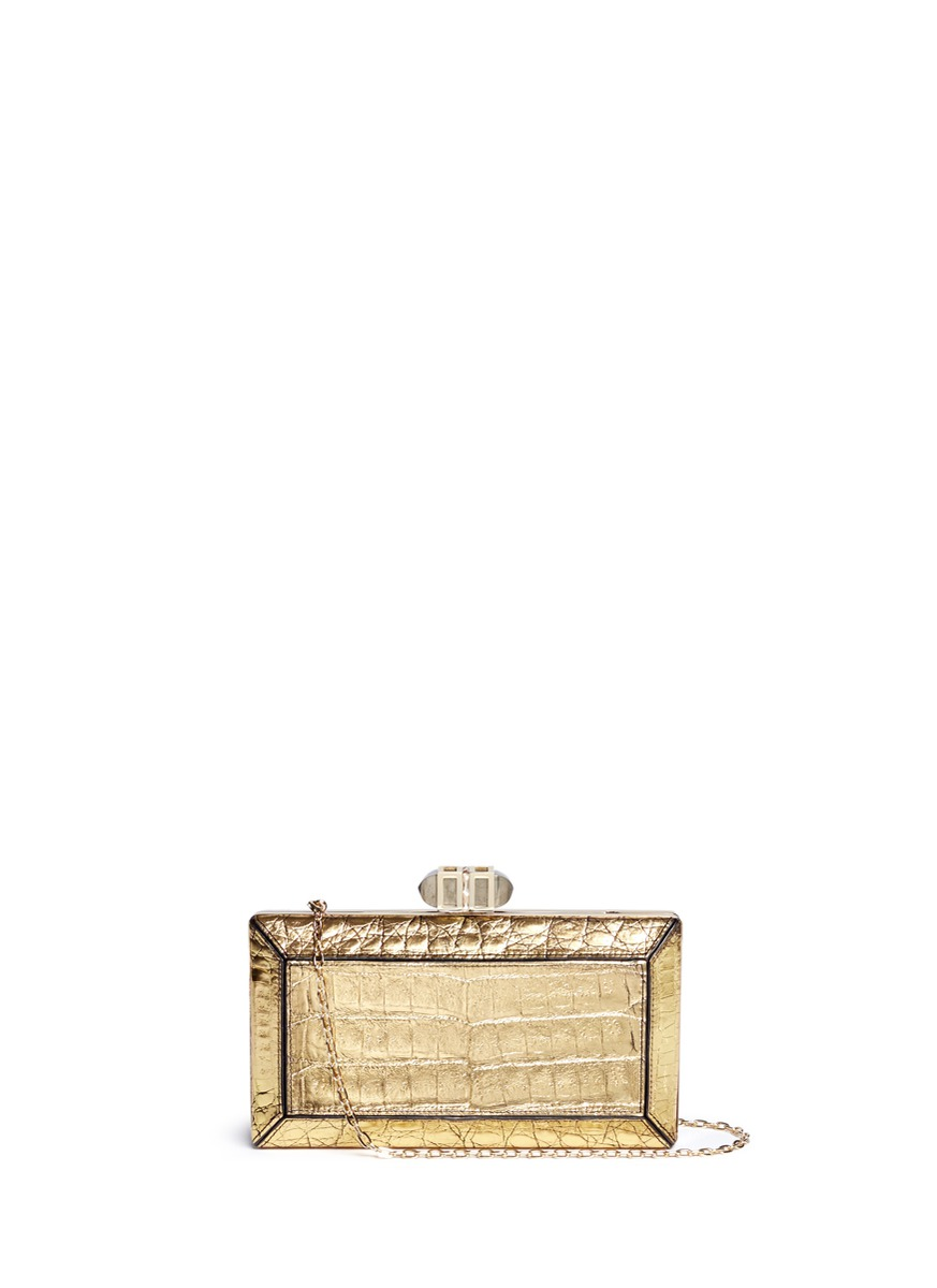 Cayman Coffered Rectangle crocodile leather box clutch by Judith Leiber