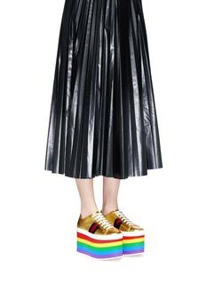 Gucci'Peggy' rainbow stripe metallic leather platform sneakers