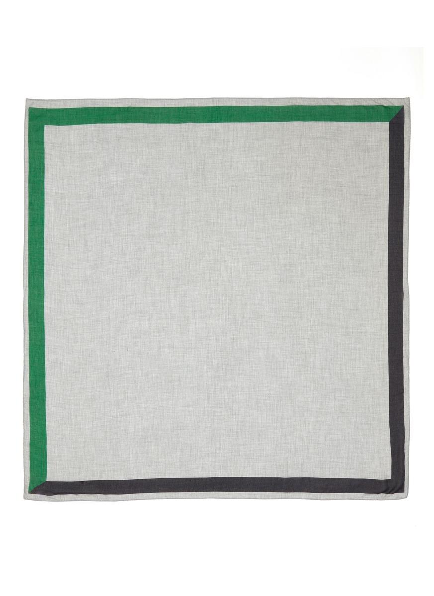 Lino colourblock border scarf by Faliero Sarti