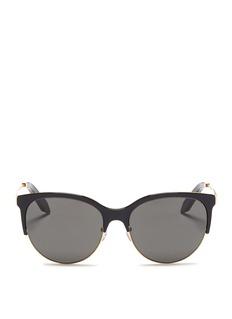 Victoria Beckham'Layered Combination Kitten' acetate brow bar metal sunglasses
