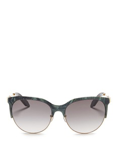 Victoria Beckham 'Layered Combination Kitten' marble effect acetate brow bar sunglasses