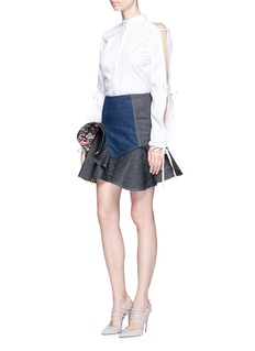 Alexander McQueenRuffle hem floral reverse denim skirt