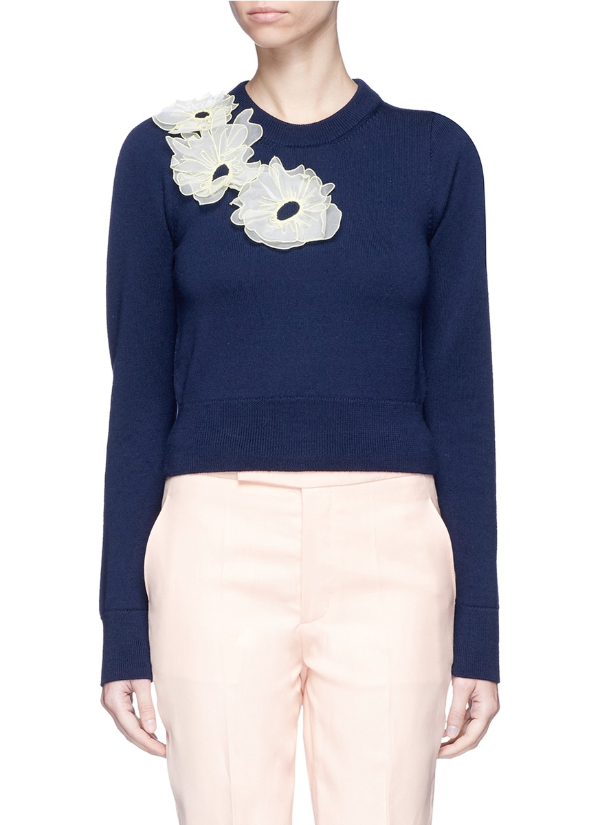 Nobuya organza floral appliqué wool sweater by Roksanda