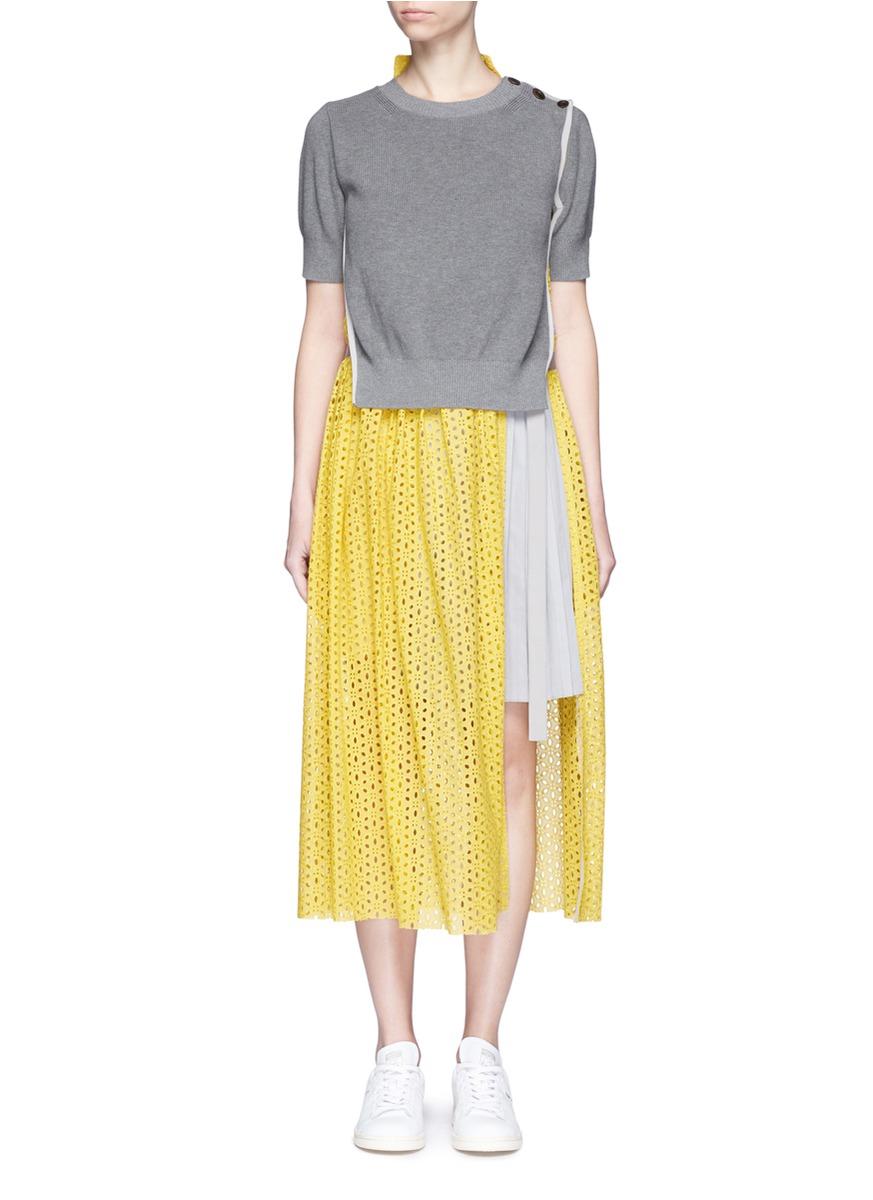sacai female sweater overlay eyelet lace pleated dress