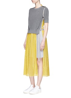 Sacai Sweater overlay eyelet lace pleated dress