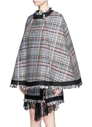 Detail View - Click To Enlarge - Sacai - Retractable hood Summer tweed zip cape