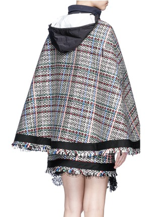 Back View - Click To Enlarge - Sacai - Retractable hood Summer tweed zip cape