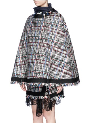 Front View - Click To Enlarge - Sacai - Retractable hood Summer tweed zip cape