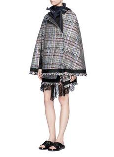 SacaiRetractable hood Summer tweed zip cape