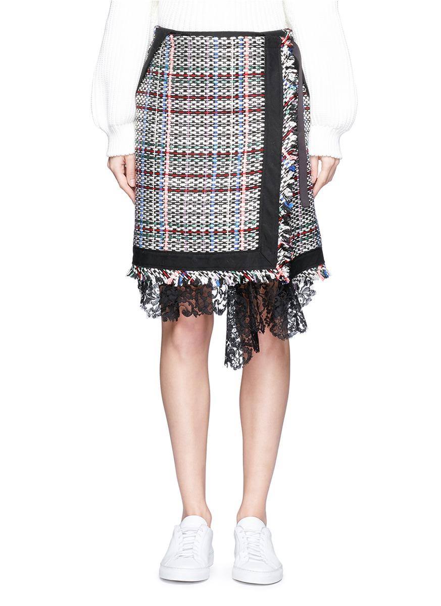 sacai female asymmetric lace summer tweed mock wrap skirt