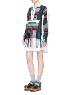 SacaiMexican stripe frayed shirt dress