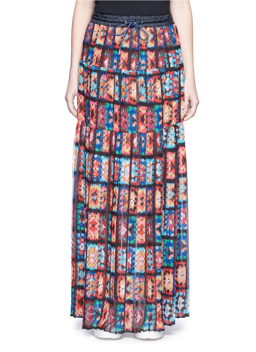 sacai female floral print chiffon maxi skirt