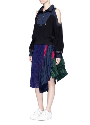 Figure View - Click To Enlarge - Sacai - Eyelet lace pleated skirt