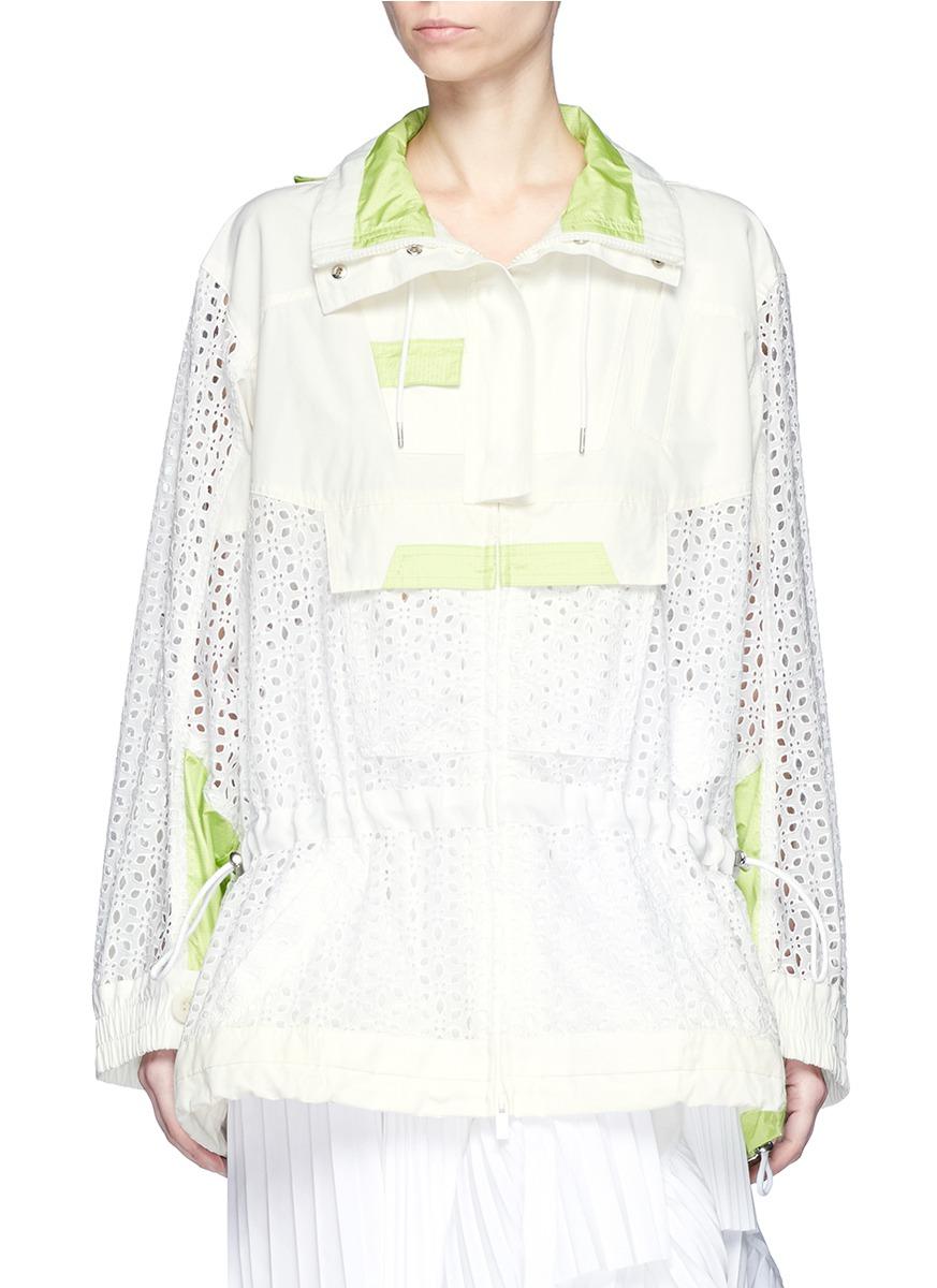Parka collar eyelet lace blouson jacket by Sacai