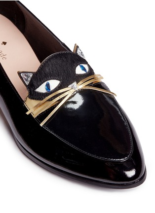 Detail View - Click To Enlarge - Kate Spade - 'Cecilia' calfhair cat face patent leather loafers