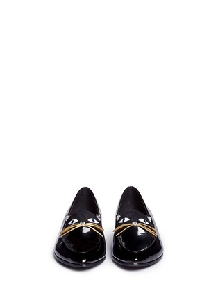 Front View - Click To Enlarge - Kate Spade - 'Cecilia' calfhair cat face patent leather loafers