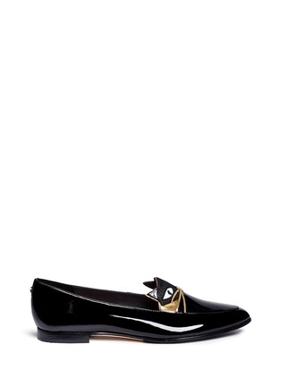 Main View - Click To Enlarge - Kate Spade - 'Cecilia' calfhair cat face patent leather loafers