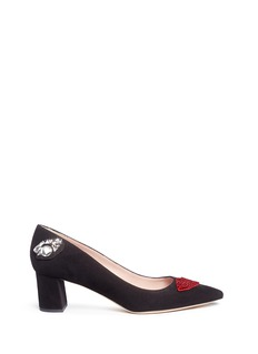 Kate Spade 'Misa' crystal lip suede pumps