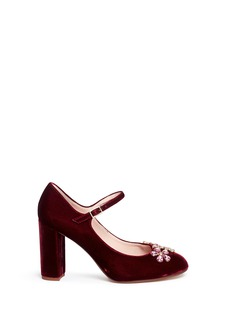 Kate Spade 'Ballina' floral glass crystal velvet Mary Jane pumps