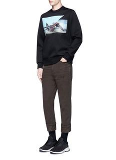Neil Barrett'Fighter Hawk' print bonded jersey sweatshirt