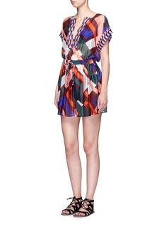 Emilio Pucci'Parioli' geometric print drawstring waist silk dress
