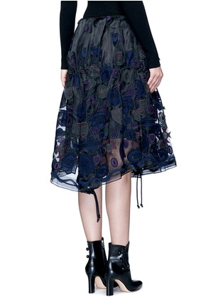 Back View - Click To Enlarge - Sacai - Embroidered patch appliqué drawstring organza skirt