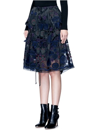 Front View - Click To Enlarge - Sacai - Embroidered patch appliqué drawstring organza skirt
