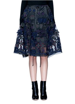 Main View - Click To Enlarge - Sacai - Embroidered patch appliqué drawstring organza skirt