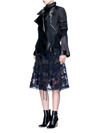 Figure View - Click To Enlarge - Sacai - Embroidered patch appliqué drawstring organza skirt