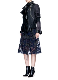 Sacai Embroidered patch appliqué drawstring organza skirt