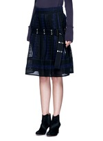 Embroidered regimental calligraphy stripe pleated skirt