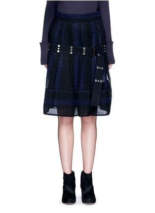 Main View - Click To Enlarge - Sacai - Embroidered regimental calligraphy stripe pleated skirt