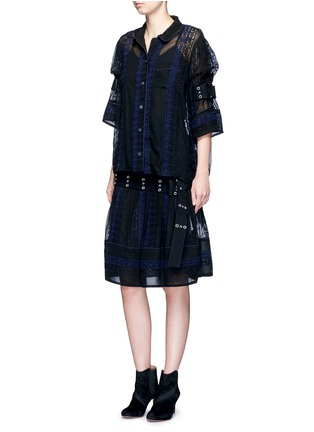 Figure View - Click To Enlarge - Sacai - Embroidered regimental calligraphy stripe pleated skirt