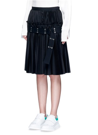 Front View - Click To Enlarge - Sacai - Belted plissé pleat skirt
