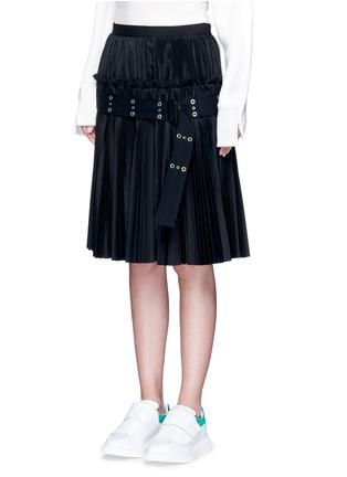 Sacai-Belted plissé pleat skirt