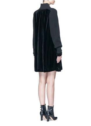 Back View - Click To Enlarge - Sacai - Buckle strap wool knit overlay velvet dress