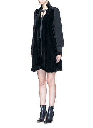 Front View - Click To Enlarge - Sacai - Buckle strap wool knit overlay velvet dress