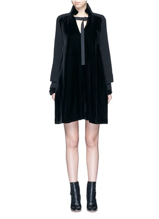 Main View - Click To Enlarge - Sacai - Buckle strap wool knit overlay velvet dress