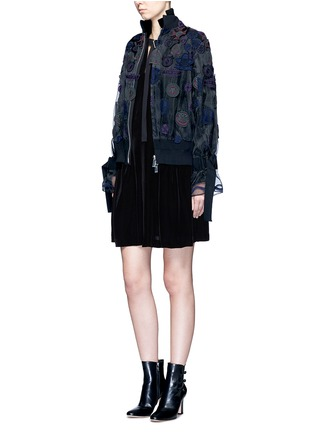 Figure View - Click To Enlarge - Sacai - Buckle strap wool knit overlay velvet dress