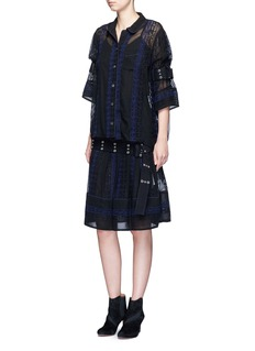 SacaiCalligraphy embroidered stripe belted sleeve shirt