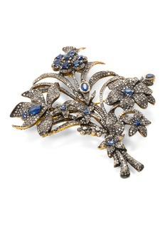 Aishwarya Diamond kyanite gold alloy floral brooch