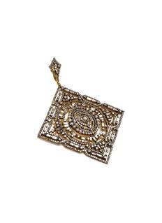 Aishwarya Diamond gold alloy cutout square pendant