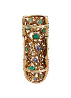 Aishwarya Diamond emerald kyanite fretwork ring