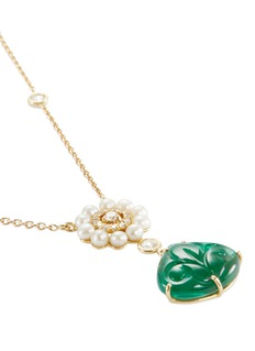 Aishwarya Diamond emerald pearl gold alloy earrings and necklace set