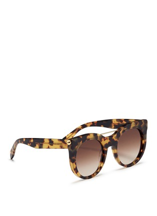 Figure View - Click To Enlarge - Alexander McQueen - 'Piercing Bar' round tortoiseshell acetate sunglasses