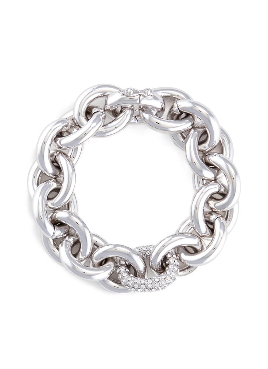 Crystal pavé link chain bracelet by Eddie Borgo